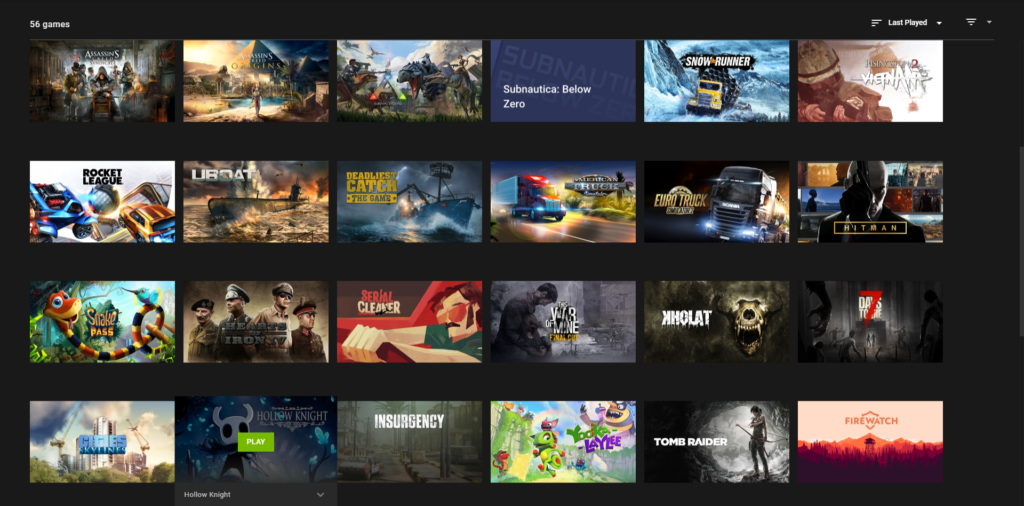 My GeForce Now Library